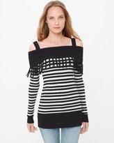 White House Black Market Cold-Shoulder Stripe Fringe Tunic Sweater