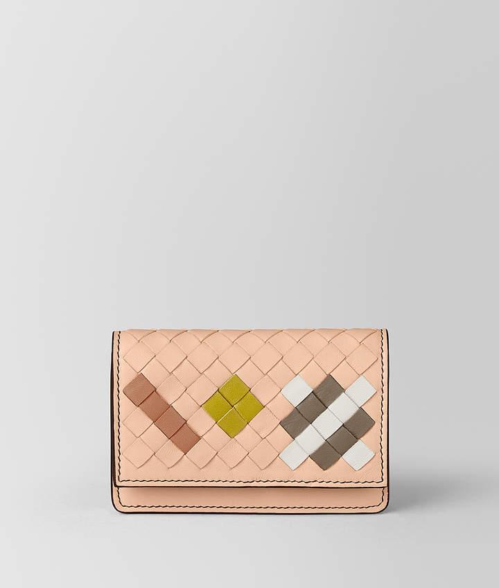 Bottega Veneta PEACH ROSE INTRECCIATO ABSTRACT CARD CASE