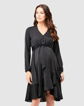 Ripe Maternity Satin Tie Front Dress