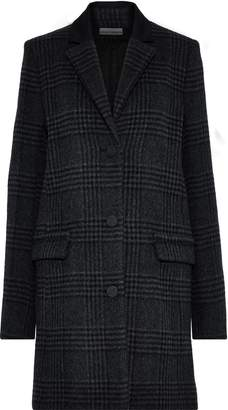 Paco Rabanne Cady-trimmed Checked Wool-blend Coat