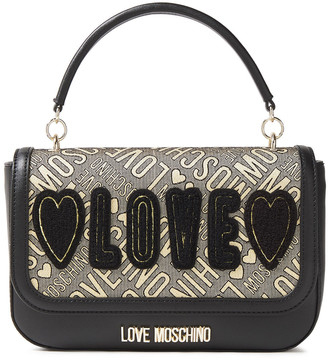 Love Moschino Appliqued Logo-jacquard And Faux Leather Shoulder Bag