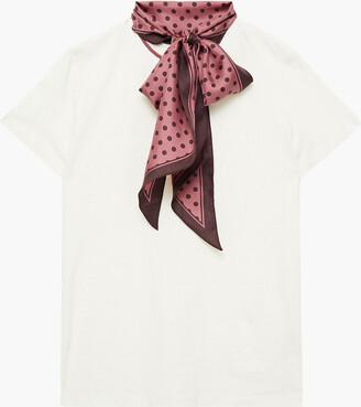 Zimmermann Tie-neck Linen And Cotton-blend Jersey T-shirt