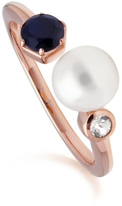 Gemondo Sapphire, Pearl & Topaz Open Ring In Rose Gold Plated Silver