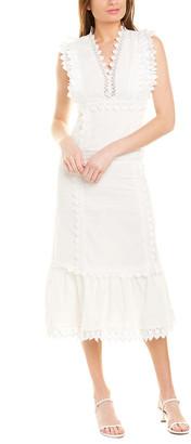 Stellah Lace Linen-Blend Midi Dress
