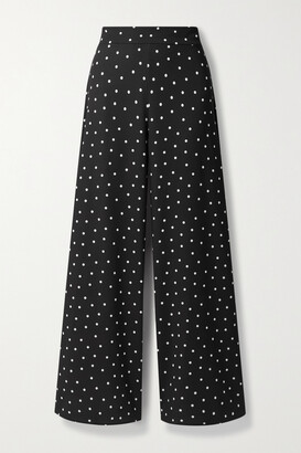 Alice + Olivia - Athena Polka-dot Crepe Wide-leg Pants - Black