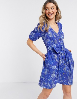 French Connection button through belted floral print mini dress in clement blue multi