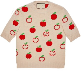 Gucci GG apple wool jacquard top