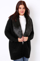 Yours Clothing Black Knitted Chunky Cardigan With Fur Collar Trim