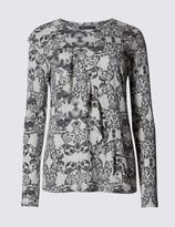 Marks and Spencer Paisley Print Ruffle Long Sleeve Jersey Top