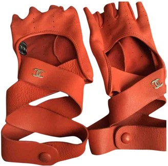 Chanel Red Leather Gloves