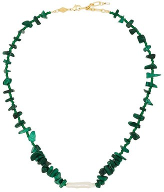 Anni Lu 18kt gold-plated Ines malachite necklace