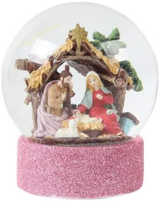 Womens Paperchase Nativity Christmas Snow Globe - Pink