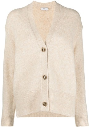 Closed V-neck long-sleeve cardigan