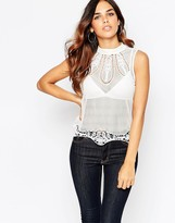 Asos Tank With High Neck In Mesh with Cotton Lace Hem