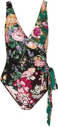 Zimmermann Allia Wrap-effect Floral-print Swimsuit