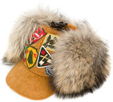 DSQUARED2 ski hat - women - Cotton/Calf Leather/Fox Fur/Cattle Horn - S