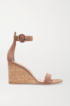 Gianvito Rossi Portofino 85 Suede Wedge Sandals - Neutral