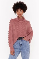 Nasty Gal Womens Have Knit Your Way Cable Neck Turtleneck Jumper - pink - L