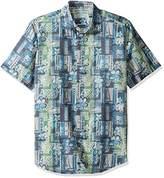 Margaritaville Men's Short Sleeve Tropical Geometric Print Shirt