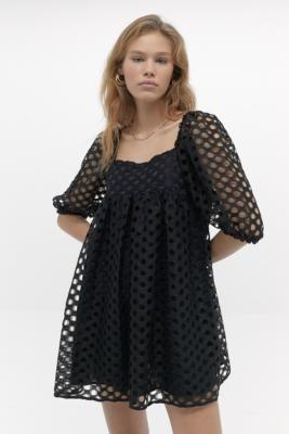 Kimchi & Blue Kimchi Blue Moe Dot Lace Mini Dress - Black XS at Urban Outfitters