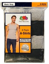 Fruit of the Loom Men's A-Shirts 4-Pack - Black/Grey