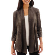 JCPenney Alyx 3/4-Sleeve Open-Front Knit Cozy