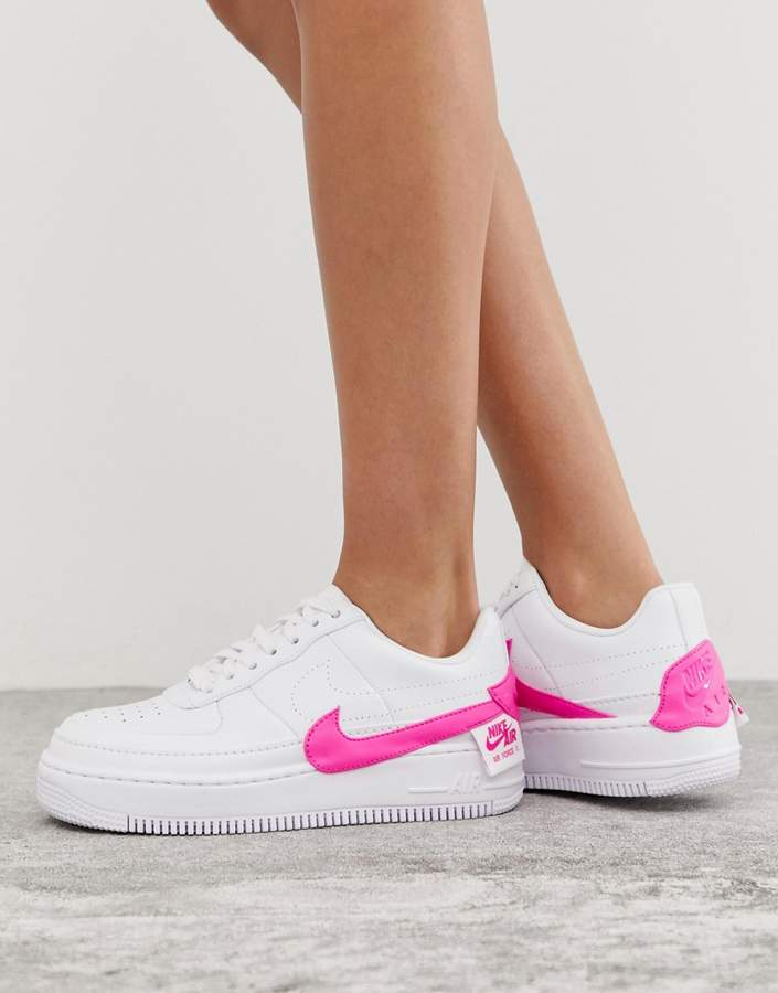 Nike white and pink air force 1 jester sneakers