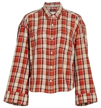 R 13 Oversized Plaid Button-Up Shirt