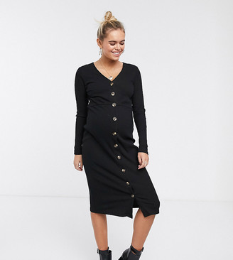 Glamorous Bloom long sleeve bodycon dress with button front in rib