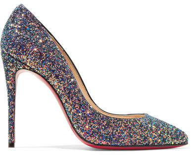 Christian Louboutin Pigalle Follies 100 Glittered Leather Pumps - Blue