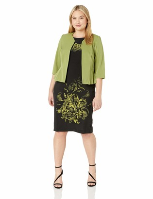 Maya Brooke Women's Side Pleated Jacket with Abstract Print Dress