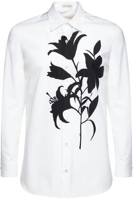 Alexander McQueen Lilly Print Cotton Poplin Shirt