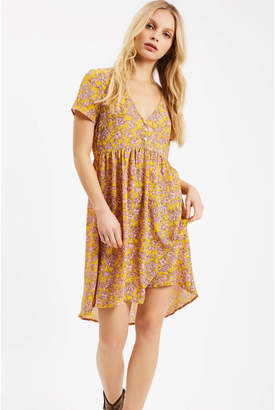 Traffic People Yellow and Pink Polyester Wanderlust Ditzy Floral Dress - M - Pink/Yellow