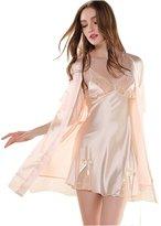 Glield Women's Silk Nightgown 2 Pieces Set Lace Satin Lingerie Robe Pajama SY01 (M, )