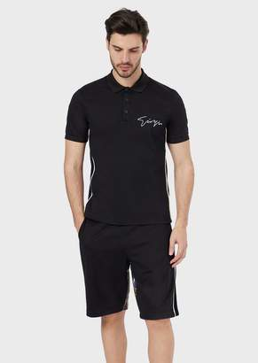 Giorgio Armani Cotton Polo With A Carpet Signature And Back With An All-Over Print