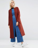 Helene Berman Drapey Longline Jacket In Rust & Black Texture