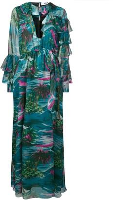 MSGM Tropical Print Ruffle Dress