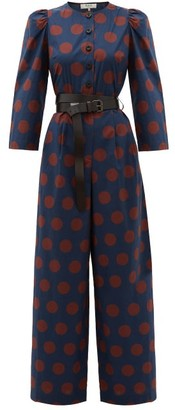 Sea Penny Spot-print Cotton-blend Jumpsuit - Navy Multi