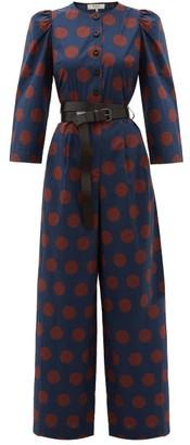 Sea Penny Spot-print Cotton-blend Jumpsuit - Womens - Navy Multi