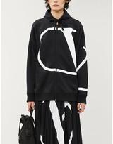 Valentino Dropped-shoulder brand-print jersey hoody
