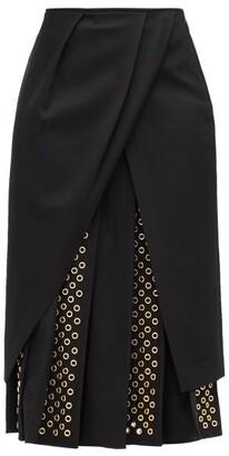 Duncan - George Pleated Eyelet-panel Twill Midi Skirt - Black