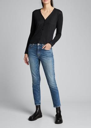 Majestic Filatures V-Neck Button-Down Long-Sleeve Stretch-Linen Cardigan