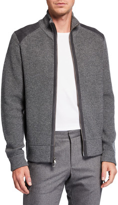 Neiman Marcus Men's Knit Full-Zip Sweater w/ Suede Trim