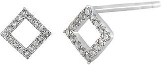 Carriere Sterling Silver Pave Diamond Open Shape Stud Earrings - 0.16 ctw