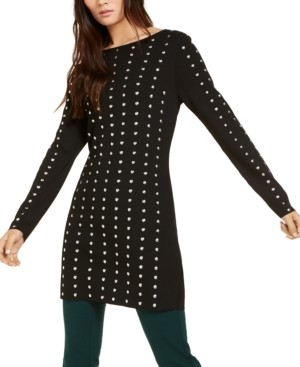 INC International Concepts Inc Studded Tunic Sweater, Created for Macy's