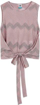 M Missoni Pink Zigzag Metallic-knit Top