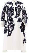 Biyan Liga Floral Velvet-appliqued Silk Shirtdress - Womens - White Navy