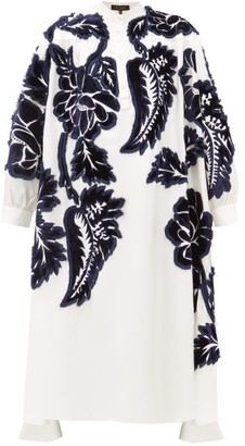 Biyan Liga Floral Velvet Appliqued Silk Shirtdress - Womens - White Navy