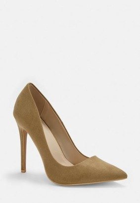 Missguided Nude Faux Suede Pumps