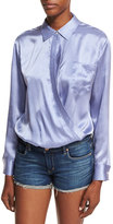 Alexander Wang Long-Sleeve Wrap-Front Menswear Striped-Print Bodysuit